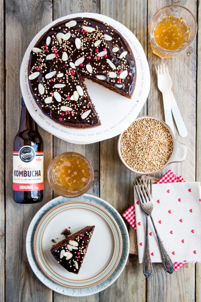 Vegan Chocolate Cake with Kombucha - moist, rich and dark vegan chocolate cake with gut healthy kombucha - this is a divinely healthy treat that tastes sinful! It's also super easy and quick to make, perfect for when you need to bake a last minute simple yet decadent cake for a special occasion.
