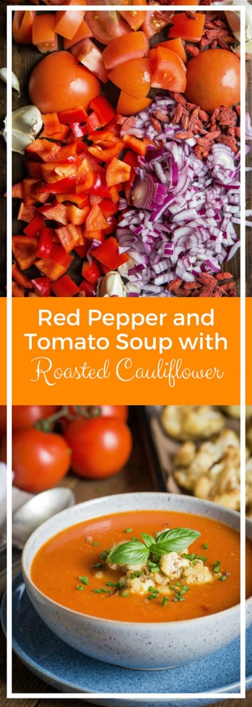 Red Pepper and Tomato Soup with Roasted Cauliflower - nothing but veggies, fruit (yep fruit!) and spices go into this deliciously rich and hearty soup that's so simple to make! Vegan and Gluten Free | thecookandhim.com