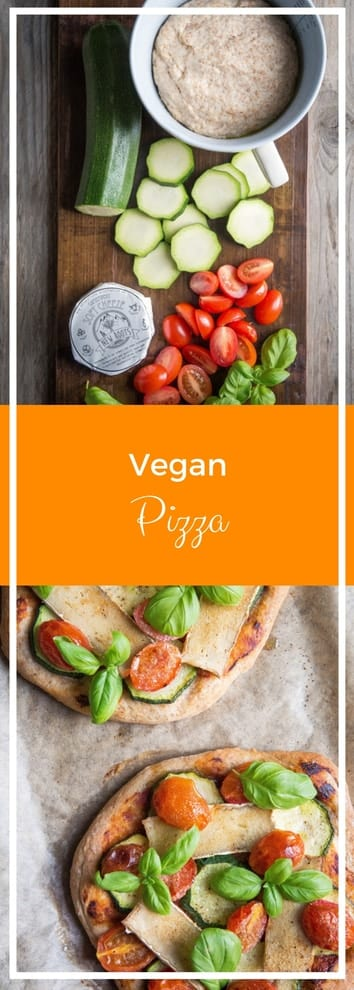 Vegan Pizza - exceptionally light pizza base topped with garlic, cherry tomatoes, garlic, basil and vegan camembert   thecookandhim.com