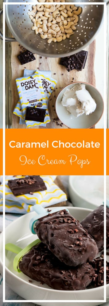 Chocolate Caramel Ice Cream Pops - vegan ice cream made with silky smooth cashews and coconut milk coated in a sticky date caramel all wrapped up in a superfood rich dark chocolate! #vegan #glutenfree #sugarfree #healthytreat #veganicecream | thecookandhim.com