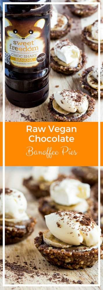 Raw Vegan Chocolate Banoffee Pies - bite sized mini pies with a nutty, chocolate base, sticky date caramel, fresh bananas and coconut cream decadence! Gluten free and refined sugar free | Recipe on thecookandhim.com