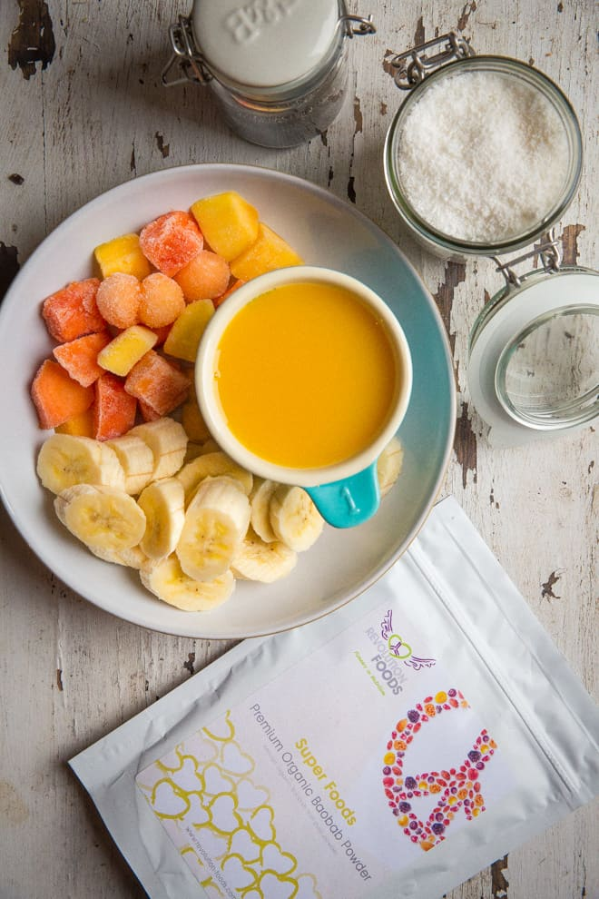 Baobab Tropical Fruit Smoothie Bowl - legitimately eat ice cream for breakfast and feel great about it! Packed with vitamin C and sunshine flavours to brighten your morning   thecookandhim.com