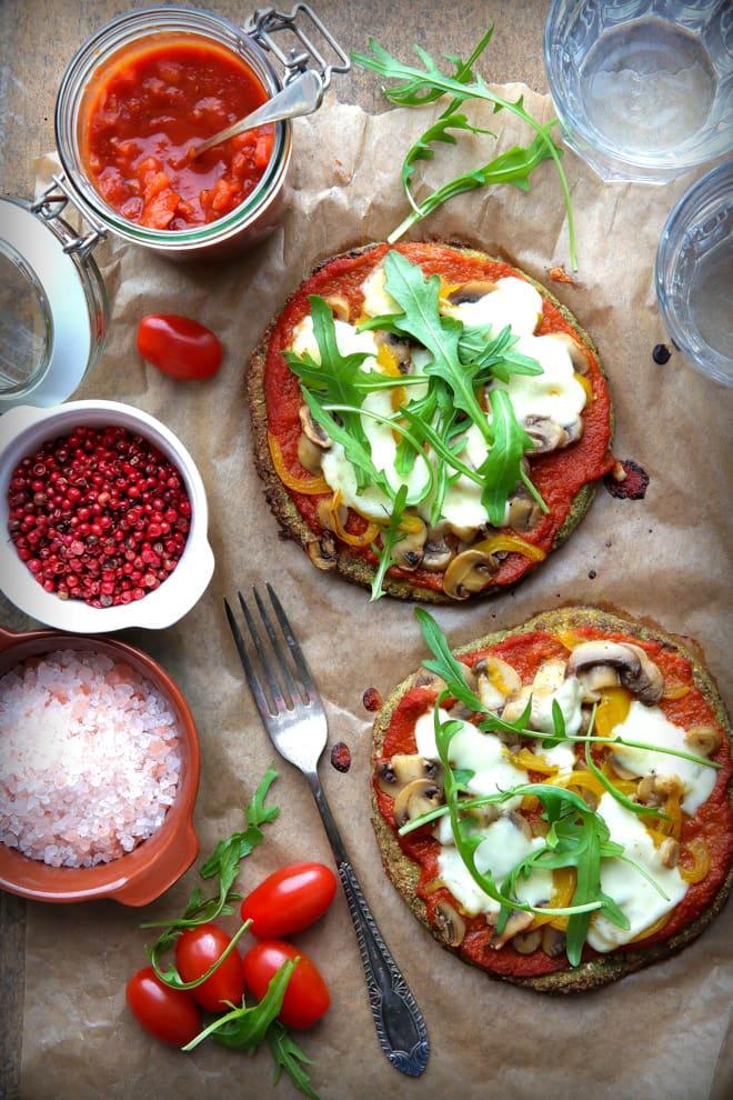 Cauliflower Crust Pizza with Home Made Marinara Sauce - Vegetarian & Gluten Free | thecookandhim.com