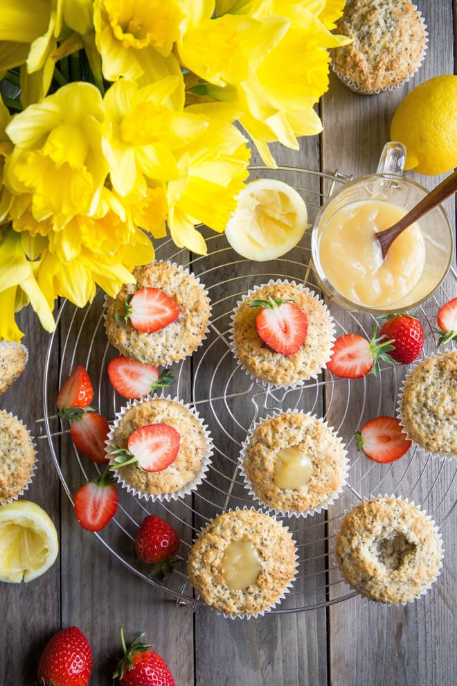 Chia Lemon Muffins with Lemon Curd - all vegan, ALL delicious! Took a while to get these just right - lemony enough without making your face pucker and lusciously light | thecookandhim.com