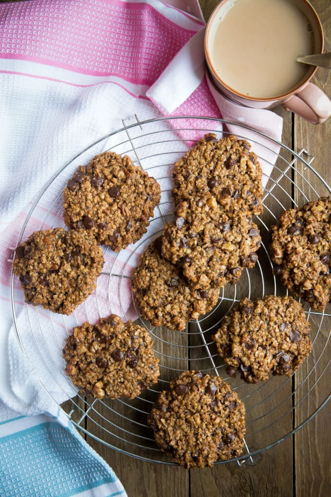Choc and Nut Oaty Cookies - sublimely soft, oozing dark chocolate chips with a nutty crunch! Vegan and Gluten Free | thecookandhim.com