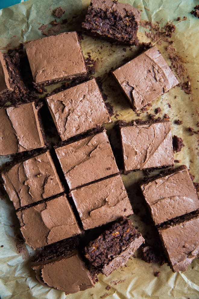 Gluten Free Double Chocolate and Orange Brownies - deceptively light, deliciously chocolatey with goji berry pops of flavour! Vegan and refined sugar free   thecookandhim.com