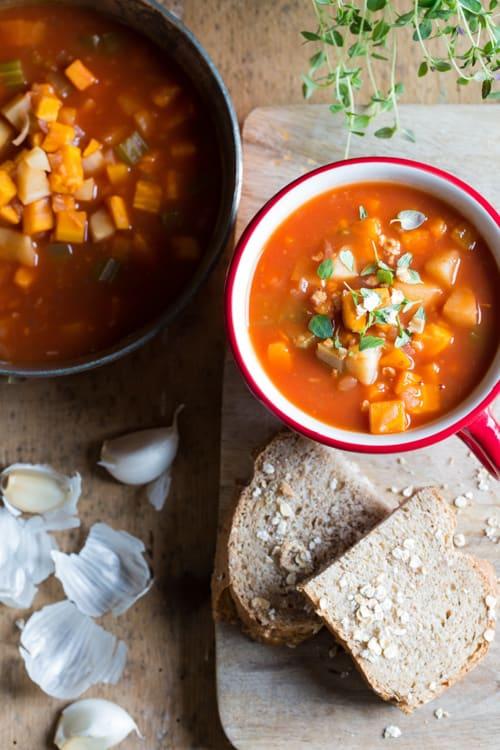 Hearty Vegetable Soup - Vegan, Gluten Free | thecookandhim.com