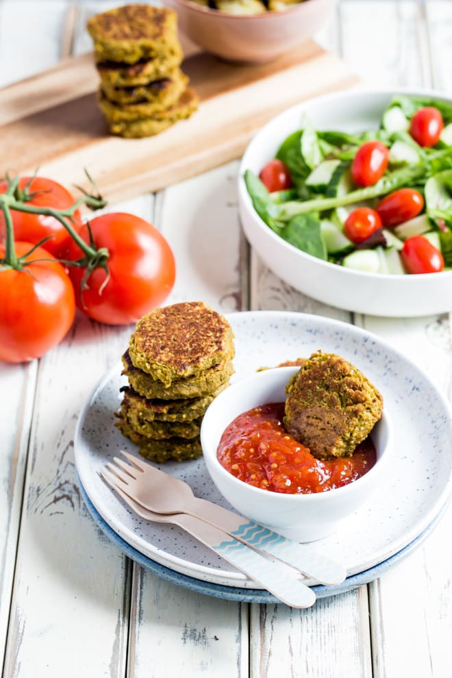 Kid Friendly Veggie Nuggets - tonnes of healthy veggies crammed into these tasty vegan nuggets as well as protein rich chickpeas! They're super easy to prepare and can be made in advance for a great quick snack or lunch box treat! Recipe on the thecookandhim.com