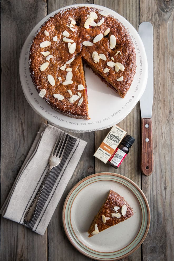 Raspberry and Almond Cake - soft, moist, delicious vegan cake with subtle almond, zesty oranges and zingy raspberries | thecookandhim.com