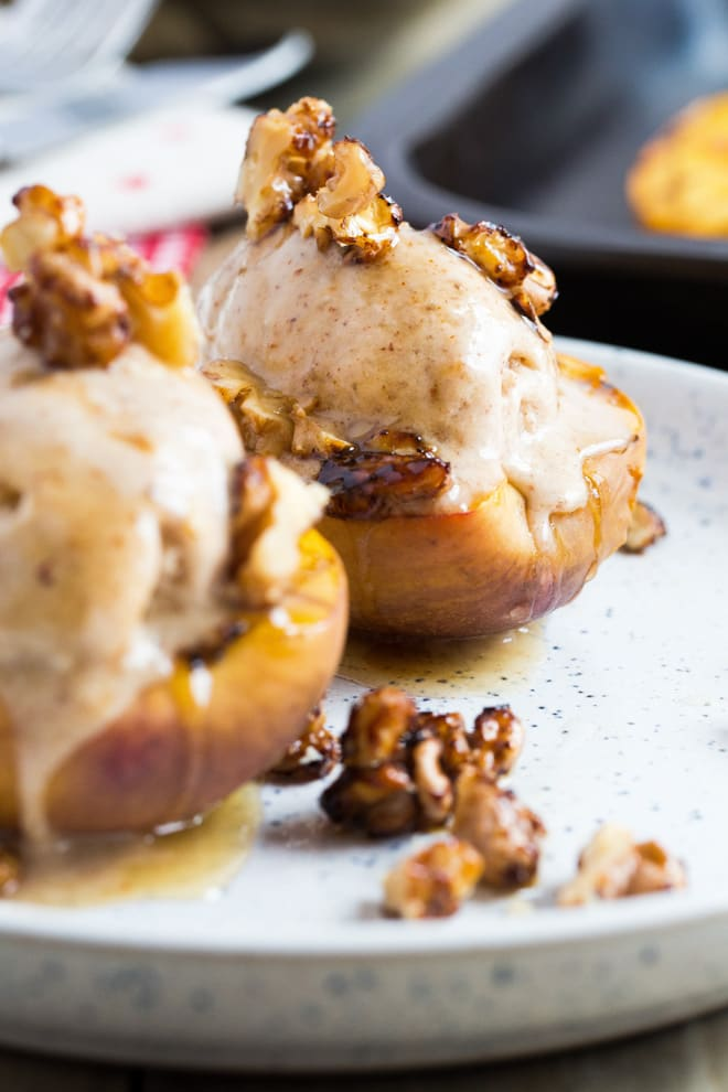 Roast Nectarines with Nice Cream and Glazed Walnuts - the ultimate summer dessert with warm roasted nectarines topped with delicious vegan ice cream and maple glazed walnuts   Recipe on thecookandhim.com