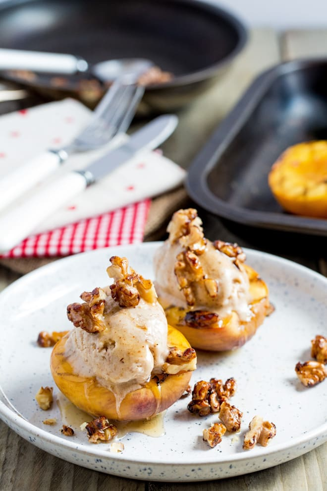 Roast Nectarines with Nice Cream and Glazed Walnuts - the ultimate summer dessert with warm roasted peaches topped with delicious vegan ice cream and maple glazed walnuts   Recipe on thecookandhim.com
