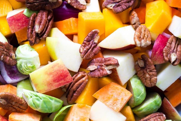 Ingredients for Spice Roasted Autumn Veggies - Vegan, Gluten Free   thecookandhim.com