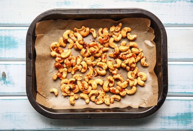 Spicy Roasted Cashew Nuts - full on flavour, roasted with fiery spices and delicious avocado oil - a super healthy and super simple snack | thecookandhim.com