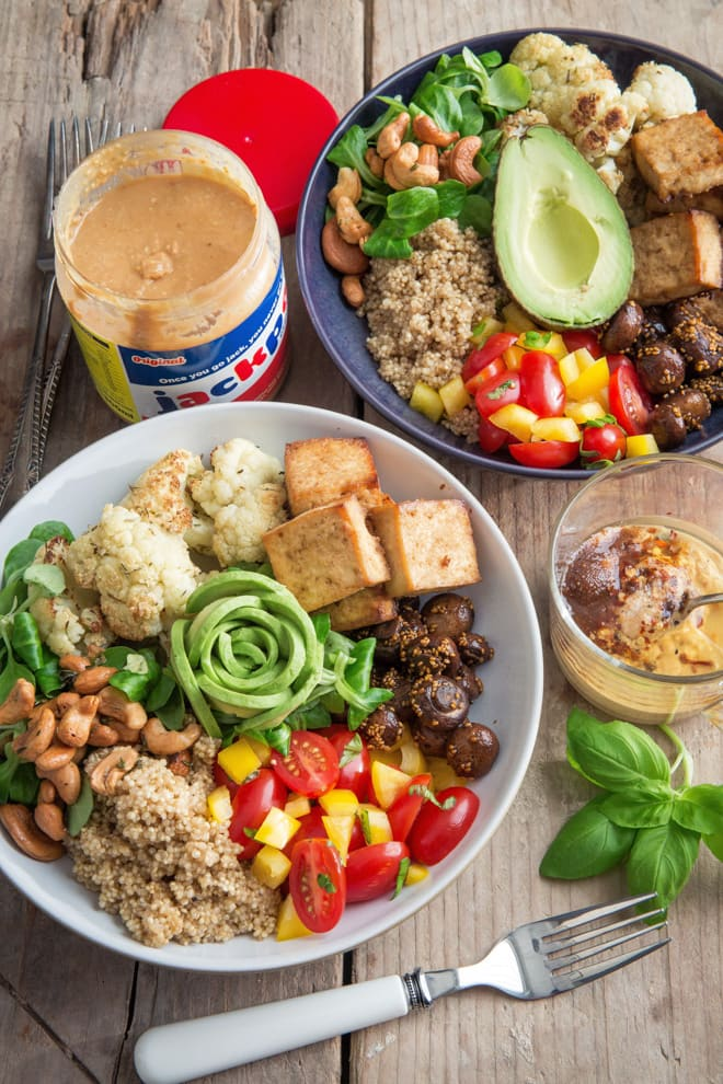 Vegan Buddha Bowl with Spicy Peanut Dressing - a great healthy take to work lunch or one bowl one fork Netflix marathon evening meal! Roasted cauliflower, herby cashews, crisp baked tofu, roasted mushrooms, spicy quinoa all vegan and gluten free | thecookandhim.com