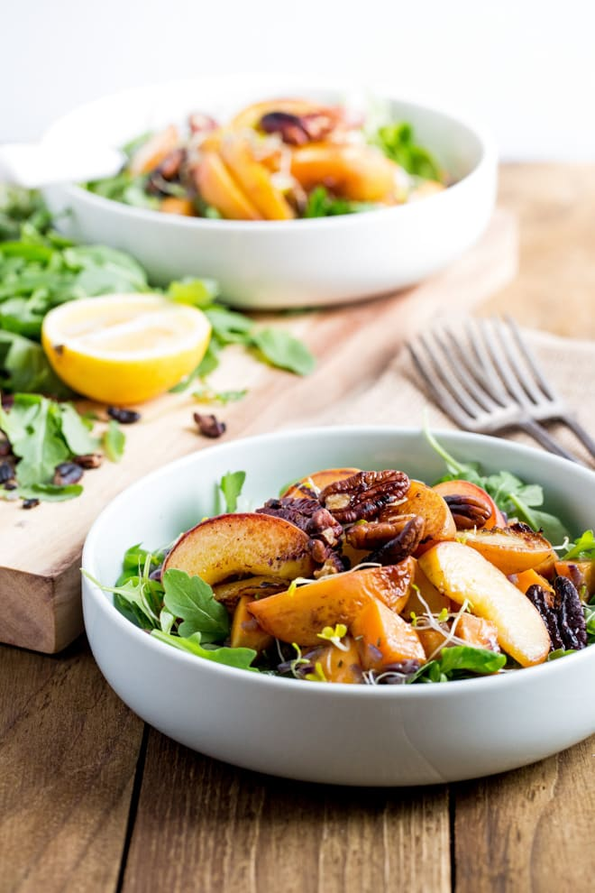 Warm Peach and Sweet Potato Salad with Balsamic Dressing