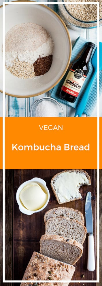 Kombucha Bread - a light, delicious loaf with a nutty flax seed crunch and a flavour boost from gut healthy kombucha! #bread #veganbread #veganbaking | Recipe on thecookandhim.com