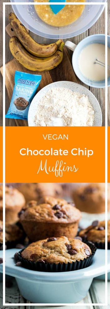 Chocolate Chip Muffins - Bakery style vegan muffins, loaded with chocolate chips! Perfect for breakfast, a delicious afternoon treat or an on the go snack! #veganrecipes #veganbaking #chocolatechipmuffins   Recipe on thecookandhim.com