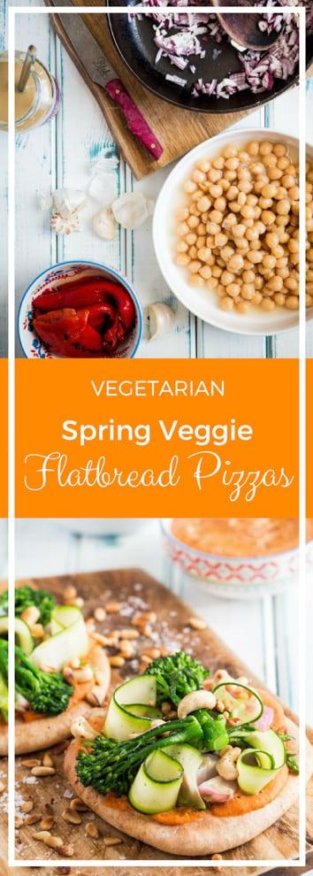 Spring Veggies Flatbread Pizza - a super simple flatbread recipe, loaded with homemade red pepper hummus and bright spring veggies! #veganpizza #hummusrecipe #flatbreadpizza #meatfree | Recipe on thecookandhim.com