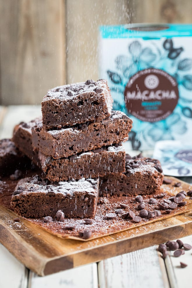 Vegan Protein Brownies - soft and fudgy, these triple chocolate brownies are given an extra boost from vegan protein powder! #veganbrownies #proteinbrownies #veganbaking | Recipe on thecookandhim.com