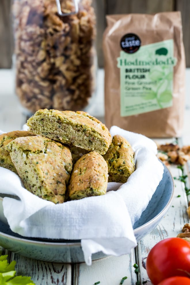 Savoury Scones - perfect for breakfast, brunch, lunch or dunking in your soup these walnut, chive and sun dried tomato scones tick loads of boxes! Vegan and gluten free too! #veganbaking #savoryscones #veganrecipes   Recipe on thecookandhim.com