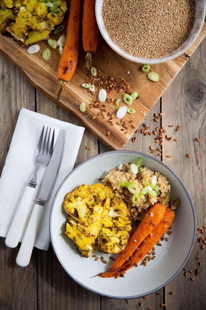 Roast Carrot and Smoked Quinoa Salad with Cauliflower Steaks
