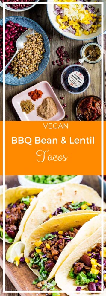 All the smoky flavours of a super easy home made BBQ sauce are infused into these vegan Bean and Lentil Tacos! #vegantacos #veganrecipes #bbq #haricotbeans #lentils #tacos | Recipe on thecookandhim.com