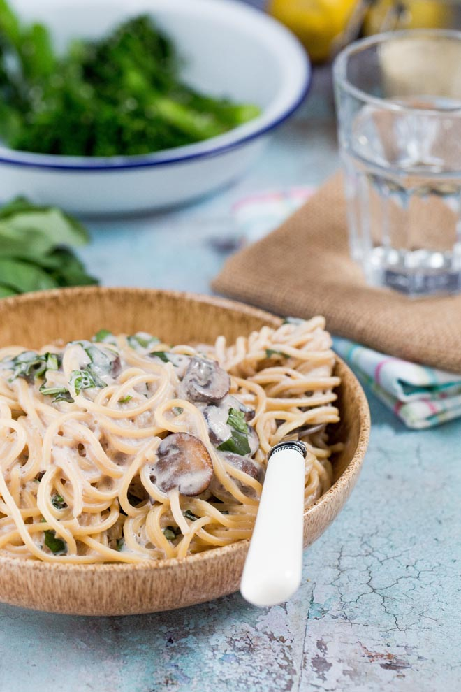 This deliciously light but creamy vegan pasta sauce is quick and easy enough for a weeknight meal but special enough for date night! #veganpasta #pastasauce #spaghetti #veganpastasauce | Recipe on thecookandhim.com