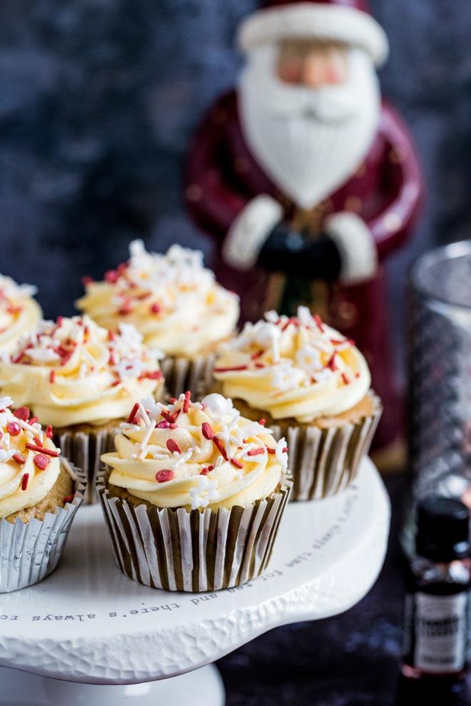 Christmas Pudding Muffins with Irish Cream Frosting
