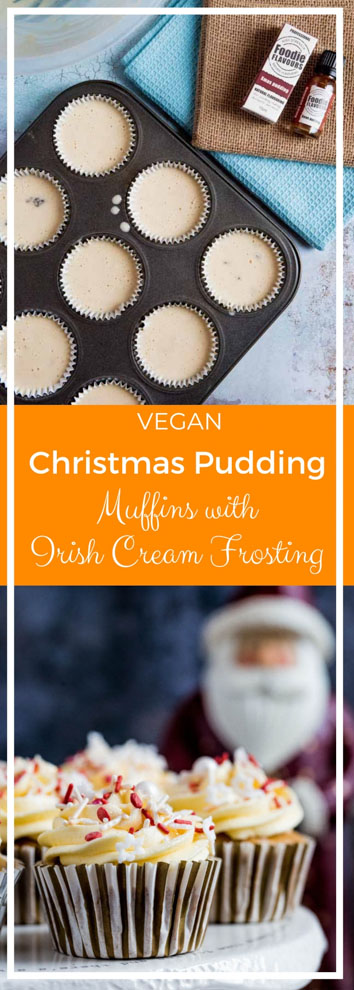 These Christmas Pudding Muffins are the perfect festive treat topped with rich and creamy Irish cream frosting - guaranteed to get you in the Christmas spirit! #veganbaking #veganmuffins #veganchristmas #veganrecipes #veganfrosting   Recipe on thecookandhim.com