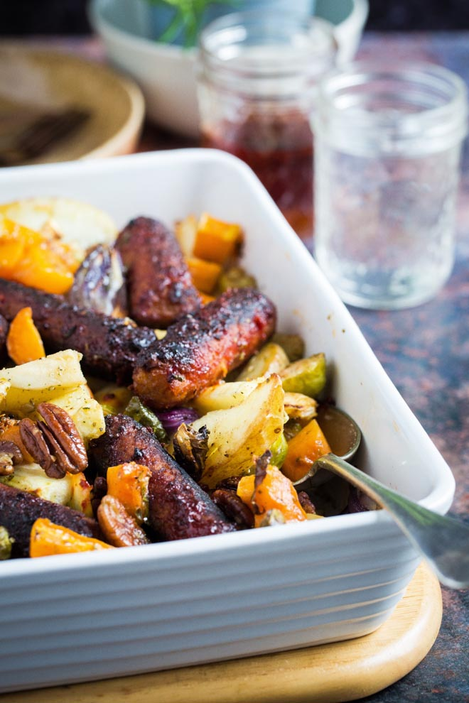 Sticky Sausage and Vegetable Tray Bake