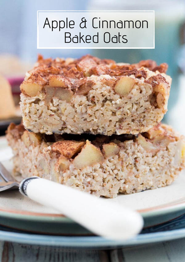 Made with just a handful of healthy ingredients and in 1 bowl these apple and cinnamon baked oats will leave you satisfied until lunch! They're also the perfect make ahead breakfast for rushed mornings! #breakfastrecipes #veganrecipes #glutenfreerecipes #easybreakfastrecipes #bakedoats | Recipe on thecookandhim.com