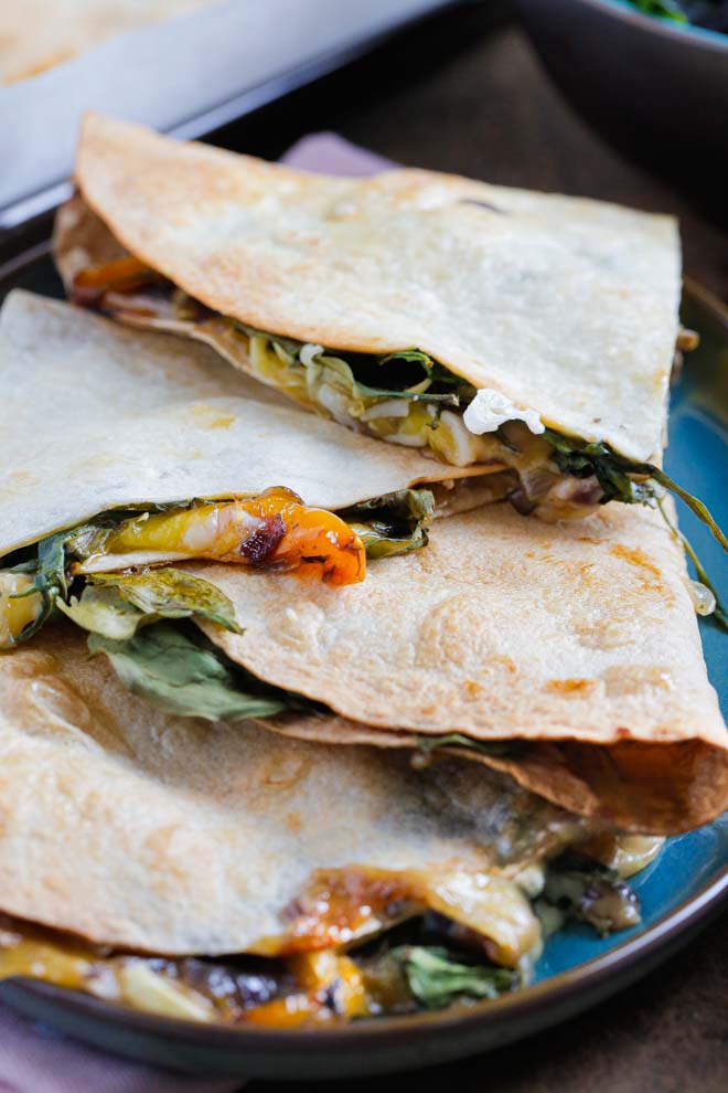 Full of veggies and vegan cheese these mushroom quesadillas are easy to prepare, full of flavour and make a delicious meal or filling snack #veganrecipes #veganquesadillas #veganquesadilla #quesadillas #vegandinner | Recipe on thecookandhim.com