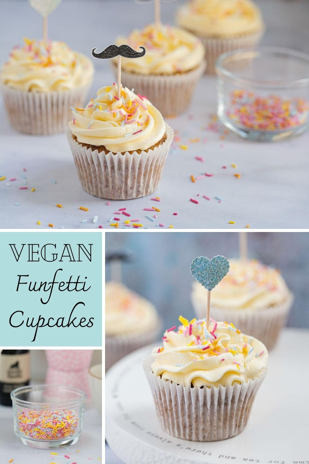 Sweet vegan funfetti cupcakes filled with colourful sprinkles and vanilla flavour, topped with a light fluffy vegan buttercream frosting! #funfetti #funfetticupcakes #vegancupcakes #veganrecipes #veganbaking #dairyfree #eggfree | Recipe on thecookandhim.com