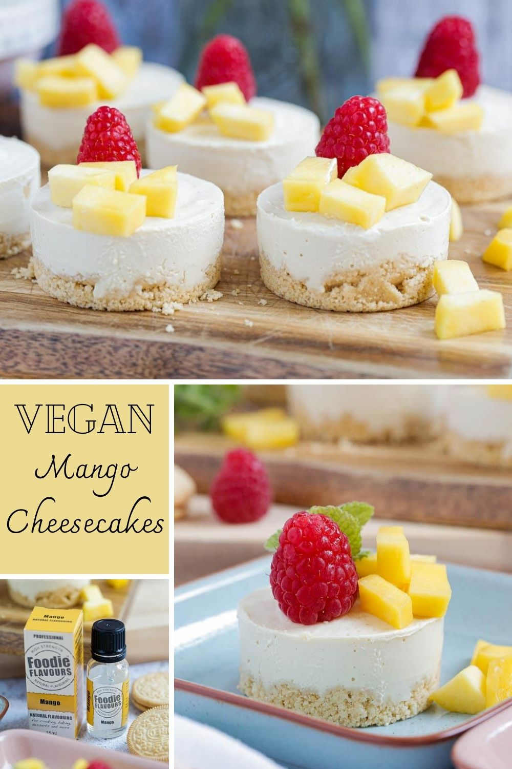 Sweet and fruity these no bake vegan mango cheesecakes have a golden biscuit and white chocolate base with a silky smooth and creamy topping. So simple to whip up too! #veganrecipes #vegandesserts #vegancheesecake #mango #rawcheesecake #cashewcheesecake #oreos #oreocheesecake #vegan | Recipe on thecookandhim.com