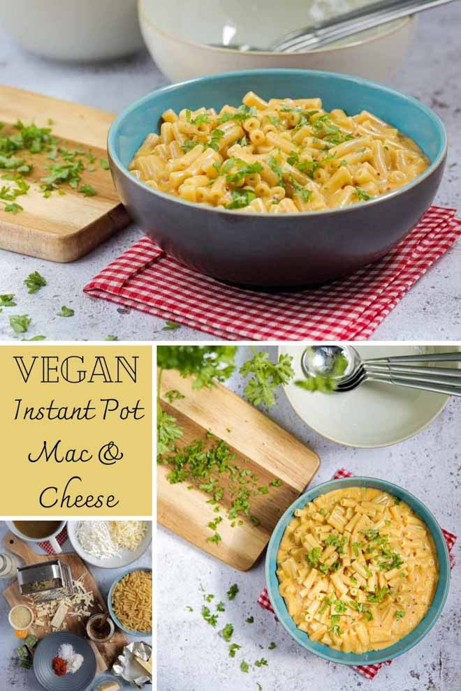 Comfort food doesn't come any easier than this! Just a few store cupboard ingredients needed for this quick and super simple vegan Instant Pot mac and cheese #instantpot #veganinstantpotrecipes #veganrecipes #veganmacandcheese #plantbased #dairyfree | Recipe on thecookandhim.com
