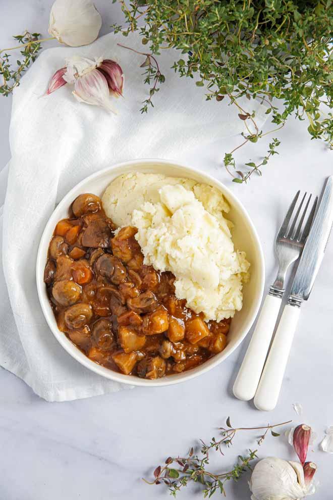 Instant Pot Mushroom Bourguignon | Easy & Vegan!