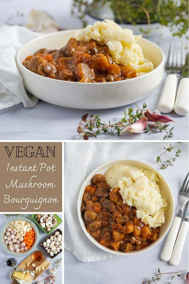 For a healthy, hearty and easy family meal this vegan mushroom bourguignon is filling, comforting and guaranteed to warm you up from the inside out! Full of veggies and herbs in a rich red wine sauce it's made in an Instant Pot for an easy weeknight meal #mushrooms #vegan #bourguignon #mushroombourguignon #veganstew #veganinstantpot #instantpot #slowcooker #veganslowcooker | Recipe on thecookandhim.com