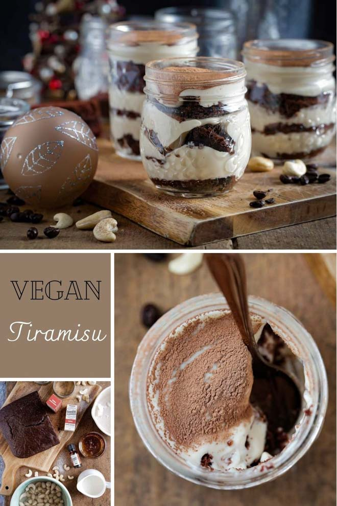 This vegan tiramisu is the perfect dessert for coffee lovers! It combines fluffy vegan chocolate cake spiked with coffee essence, a creamy cashew 'mascarpone' all topped off with a generous dusting of cacao powder. It's rich, creamy and utterly delicious! #tiramisu #vegantiramisu #vegandessert #veganchocolatecake #veganmascarpone #coffee #cashews #cashewcream | Recipe from thecookandhim.com