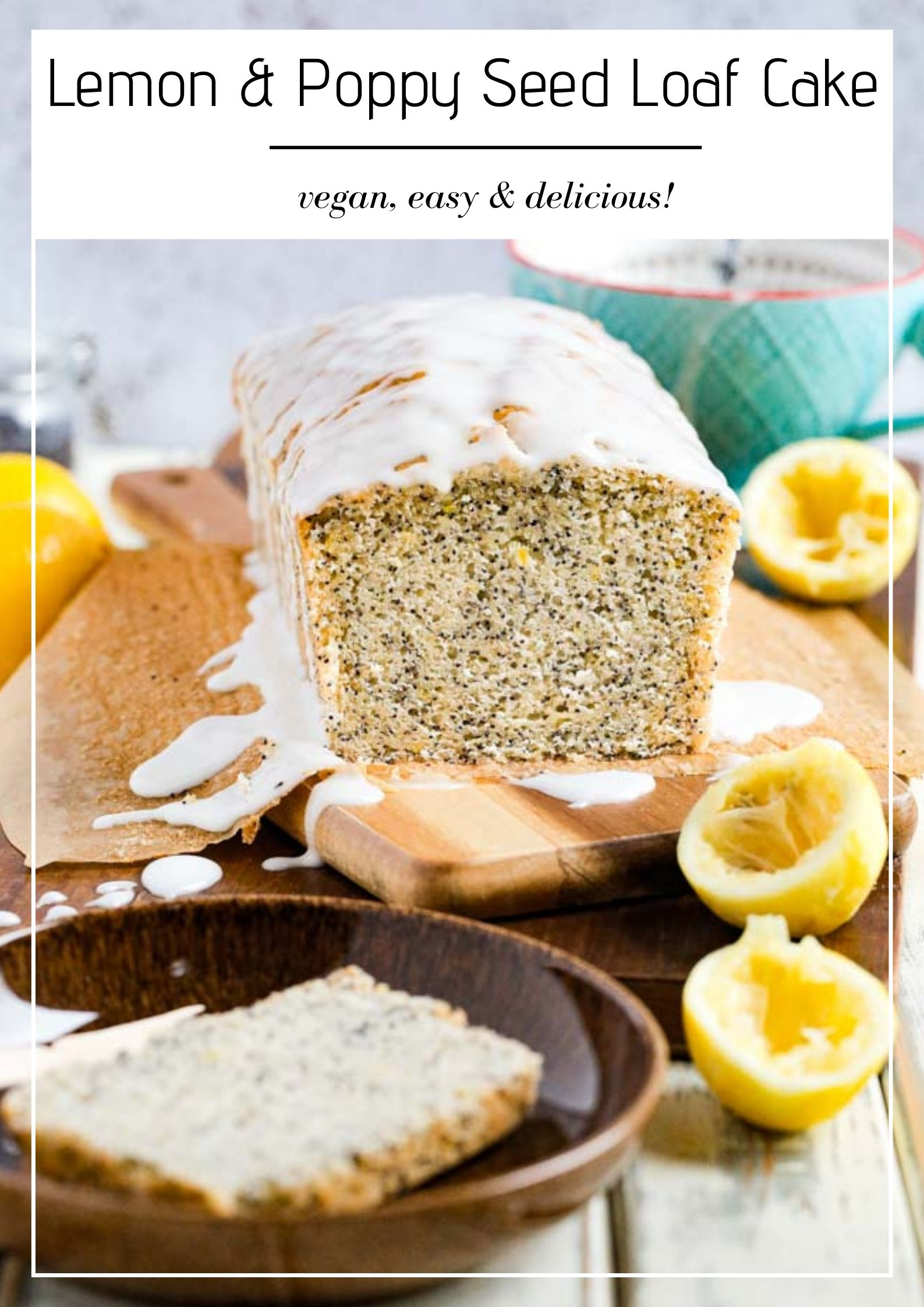 Zingy lemons and light poppy seeds combine perfectly in this delicate but moist vegan lemon poppy seed cake. Topped with a drizzle of sweet icing you'll be making this cake again and again! #lemoncake #lemonpoppyseedcake #lemonloaf #vegancake #dairyfree #eggfreecake #veganbaking #nondairymilk #veganmilk | Recipe on thecookandhim.com