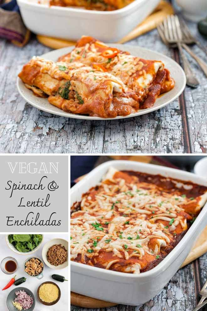 These smoky, spicy, hearty vegan enchiladas are filled with spinach, lentils and tonnes of flavour! Then they're smothered with a super simple, tasty, spicy enchilada sauce! #enchiladas #veganrecipes #plantbased #veganenchiladas #lentils #spinach #mexicanfood #spicyfood #jalapenos #vegancheese | Recipe on thecookandhim.com