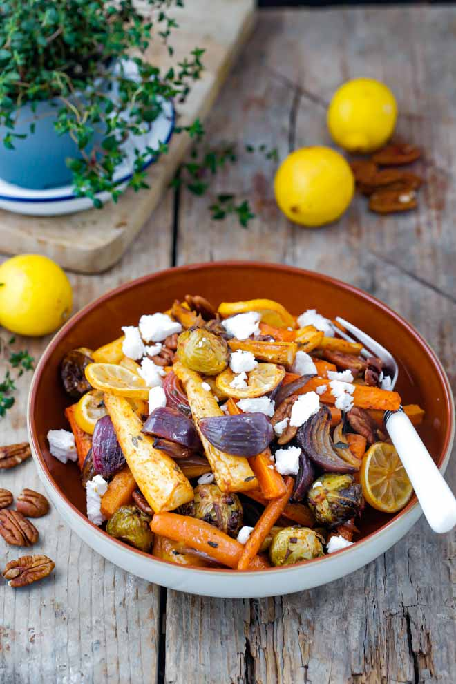 Honey Roast Root Veggies with Lemon and Thyme