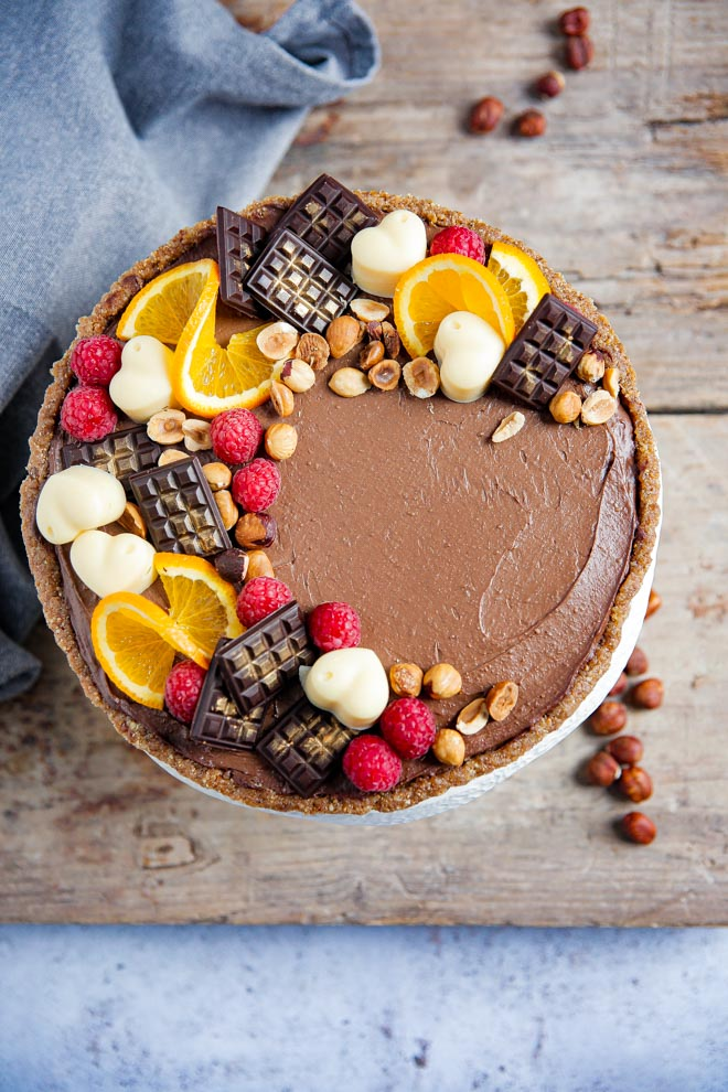 No Bake Chocolate and Hazelnut Tart