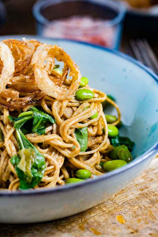 Instant Pot Vegetable Chow Mein with Crispy Onions