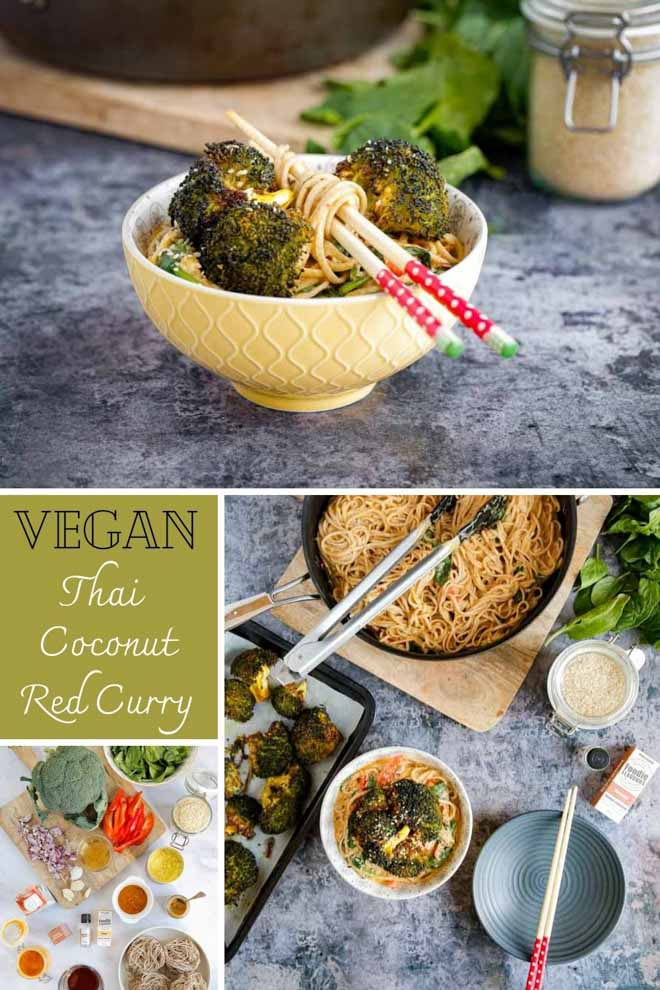 An Asian inspired recipe that's full of flavour and so easy to make. Fresh veggies in a rich, creamy, spicy Thai coconut sauce served with soft noodles for perfect weeknight comfort food! #thiafood #vegan #thaicurry #curry #noodles #redcurry #vegancurry | Recipe on thecookandhim.com