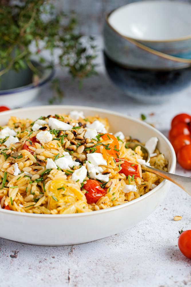 Lemon and Herb Orzo with Roasted Tomatoes