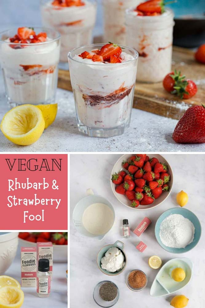 Full of bright, fresh flavour, this fruity fool is a creamy base swirled with the easiest rhubarb and strawberry jam. A deliciously light and fruity summer dessert | Recipe on thecookandhim.com #fruitfool #summerdessert #veganfool #rhurbarb #strawberry #plantbased #dairyfree