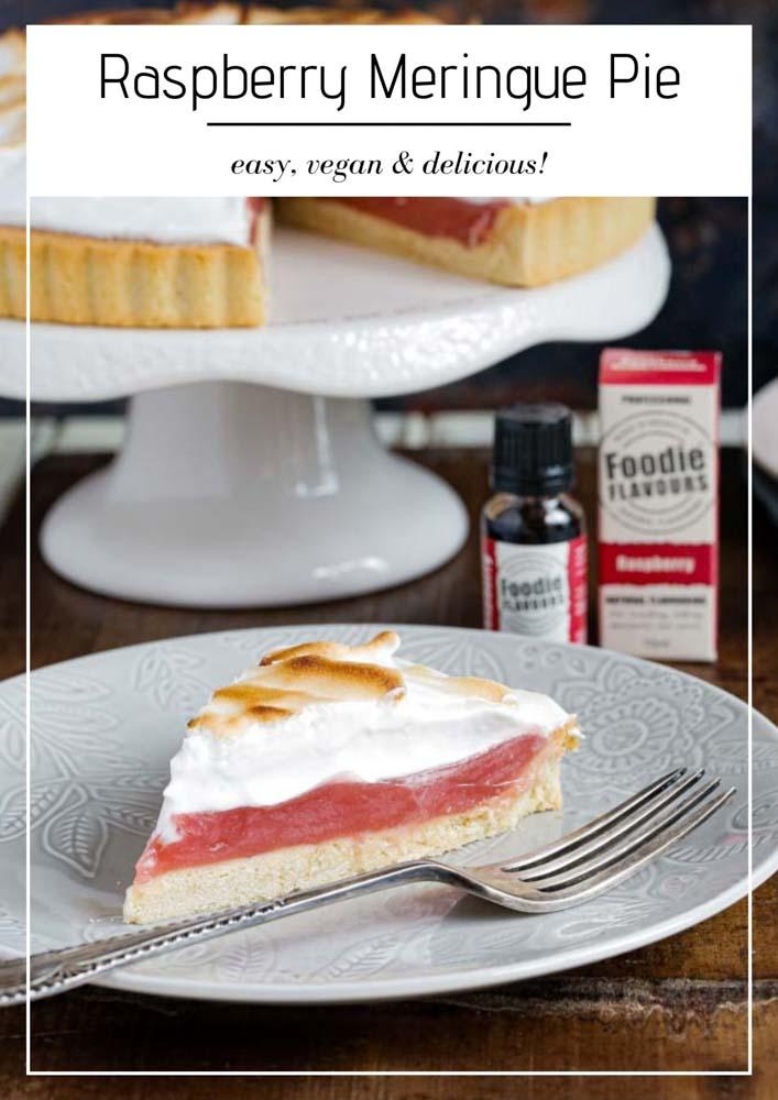 A deliciously summery vegan twist on classic lemon this raspberry meringue pie delivers slice after slice of pretty pink heaven! #veganbaking #veganmeringue #aquafaba #meringuepie #vegandessert #pie | Recipe on thecookandhim.com