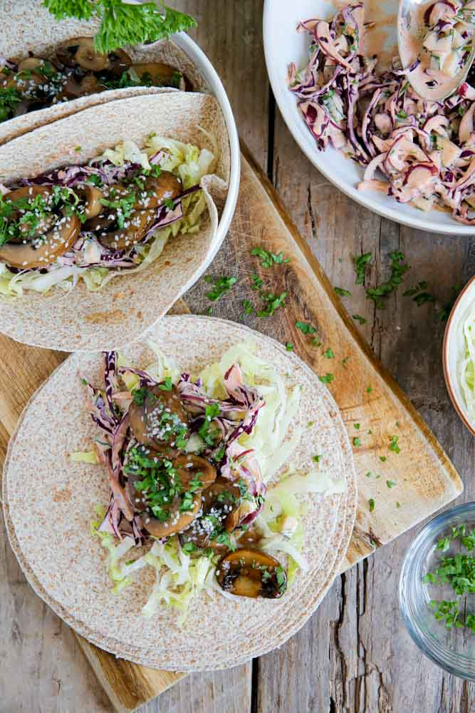 Teriyaki Mushroom Tacos with Red Cabbage Slaw