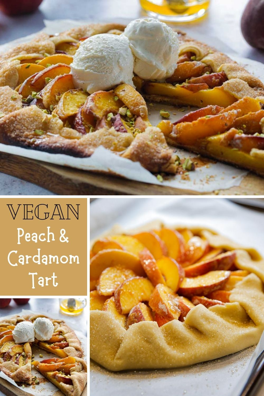 This easy, vegan peach tart is summer in every bite! Super simple homemade pastry brimming with fresh, juicy peaches served warm with a sweet orange and cardamom drizzle | recipe on thecookandhim.com | #vegan #vegandessert #peachtart #summertart #peaches #veganbaking #veganrecipe #veganpastry